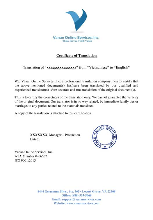 Sample Translation Certificate